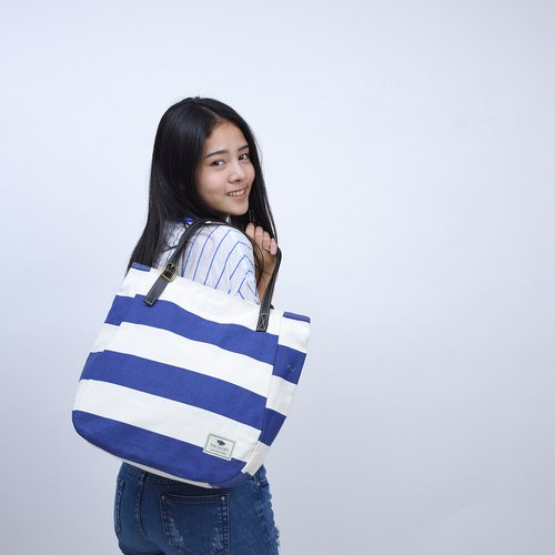 sack tote - small stripes