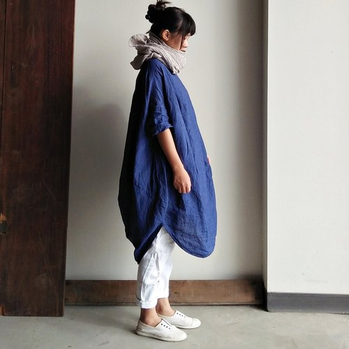 Seven points irregular gown linen blue