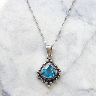 Blue Topaz 925 sterling silver Baroque style necklace Nepal handmade mosaic production