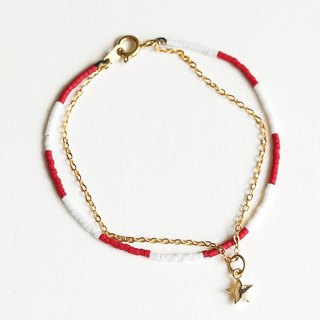 "Multi-level red and white gold drop five-pointed star double-chain brass buckle fine bracelet ""small chain club"" BMK022"
