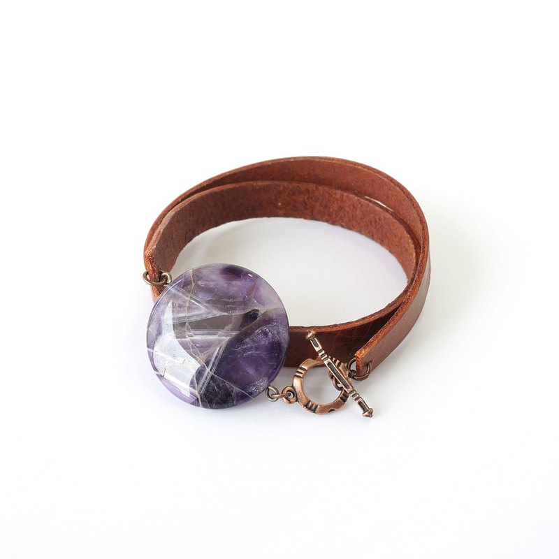 Bold & Round Purple Amethyst Stone Bracelet with Brown Double Strap Leather