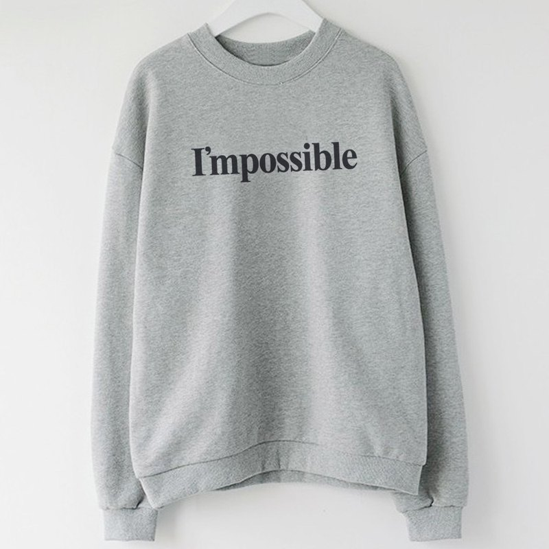 Impossible unisex gray sweatshirt