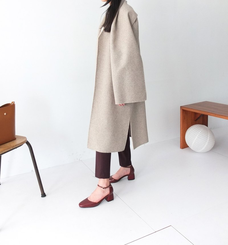 Shallow Mocha / m waist straps to wear double-sided cashmere wool coat (with Scarf)