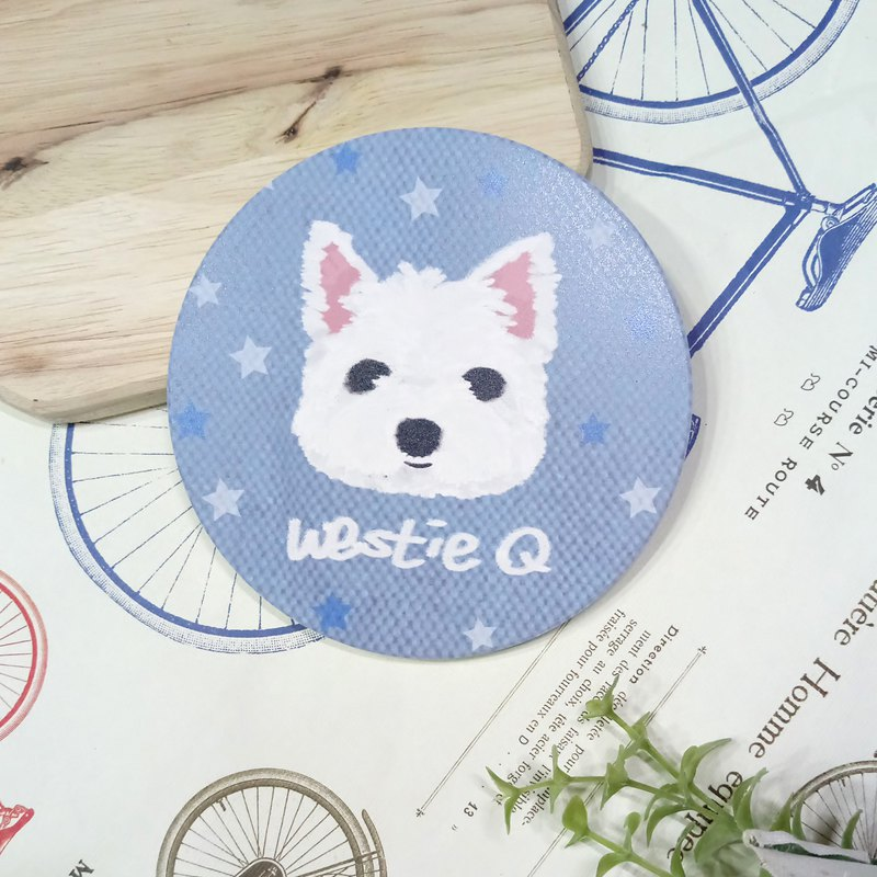 Q version of oil painting ~ sketch West Highland White Terrier-absorbent coaster ~ ceramic coaster