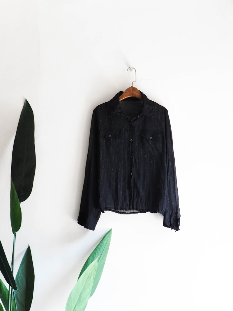 Heshui Mountain - Fukushima Sensation Silver Silk Lines Space Classic Vintage Antique Silk Shirt Top shirt oversize vintage