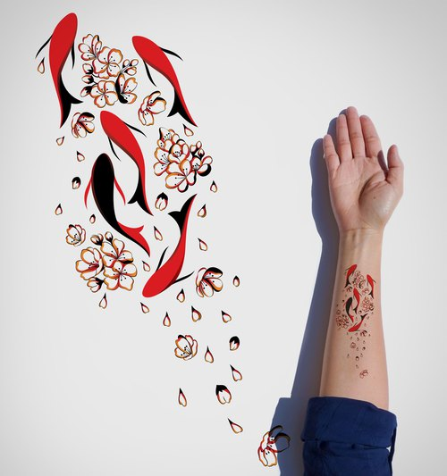 Fishes in the Pond Temporary tattoo / Japanese flowers Temporary Tattoo