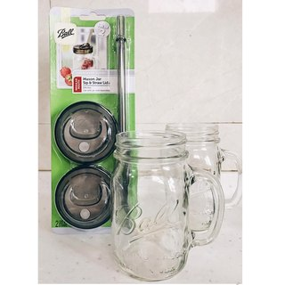 Ball Mason Jar Mason jar set _16oz narrow mouth mug*2+ narrow mouth straw cup set*1