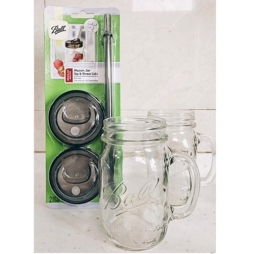 US imports glass seal Mason tank set _16oz narrow mouth mug*2+ narrow mouth straw cup cover group*1