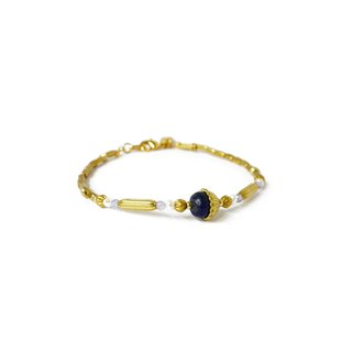 Ficelle | Handmade Brass Natural Stone Bracelet | [Lapis Lazuli] Injured Soul