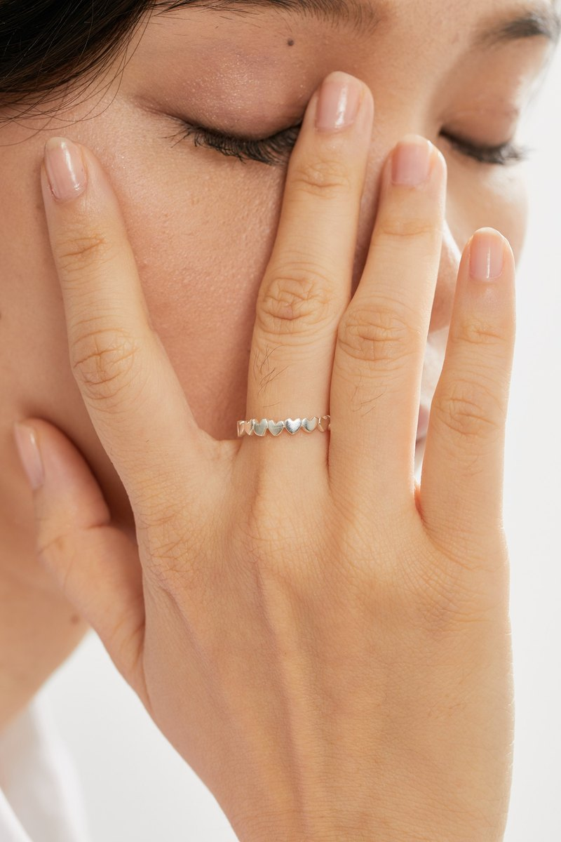 Lovers whispering the wishing pool - love surrounds the sterling silver ring