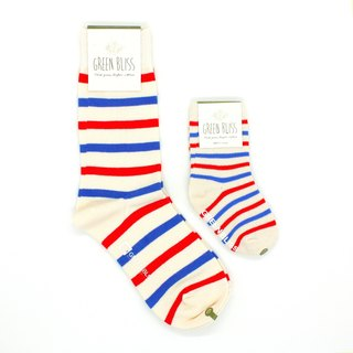 GREEN BLISS Organic Indian Socks - Parenting Promotional Cypress White Red Blue Striped Parent Socks (Neutral)