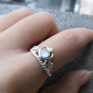 Moonstone Sterling Silver Crown Ring in Nepal to live hand-inlaid make a birthday gift Valentine's Day gift