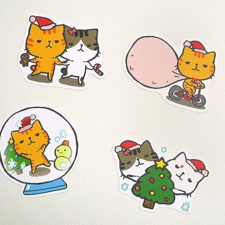 Small cat and cat waterproof stickers (Christmas)