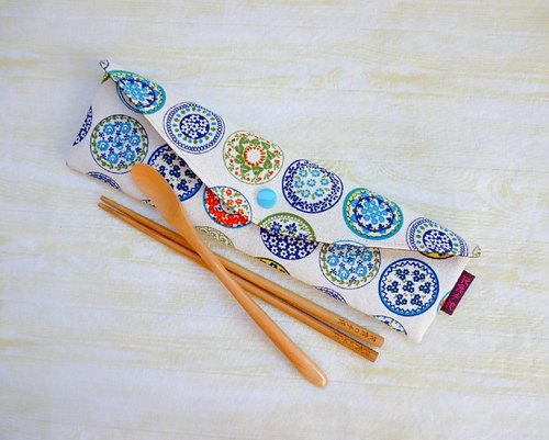 Blue and white porcelain pattern lengthened to increase the version of environmental protection tableware package chopsticks set straw bag