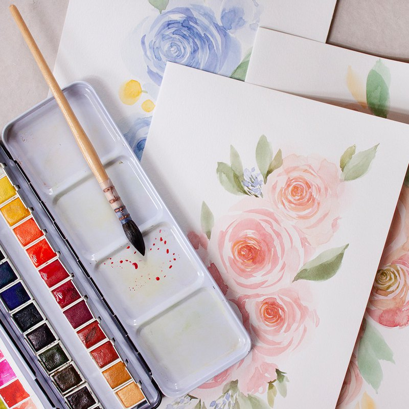 Beginner's freehand watercolor lesson - rose