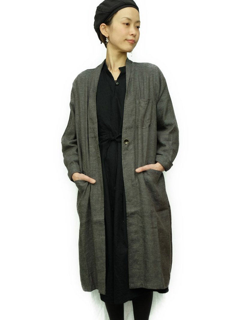 OMAKE / omagow Linen Cotton Single Button Gown