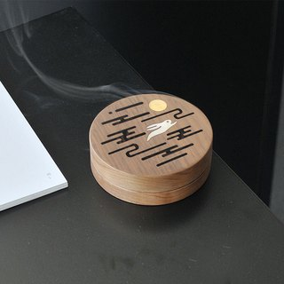 Weis only poetry Mid-Autumn Festival cultural gifts sandalwood box antique wooden dish incense burner home indoor agarwood