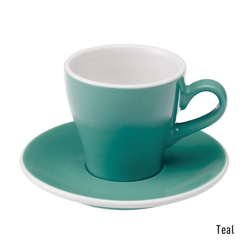 LOVERAMICS Tulip Series 180ml Five Color Cappuccino Cup and Plate Set