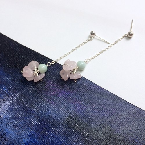 Summer fresh and refined emerald pink crystal earrings earrings 925 silver birthday gift