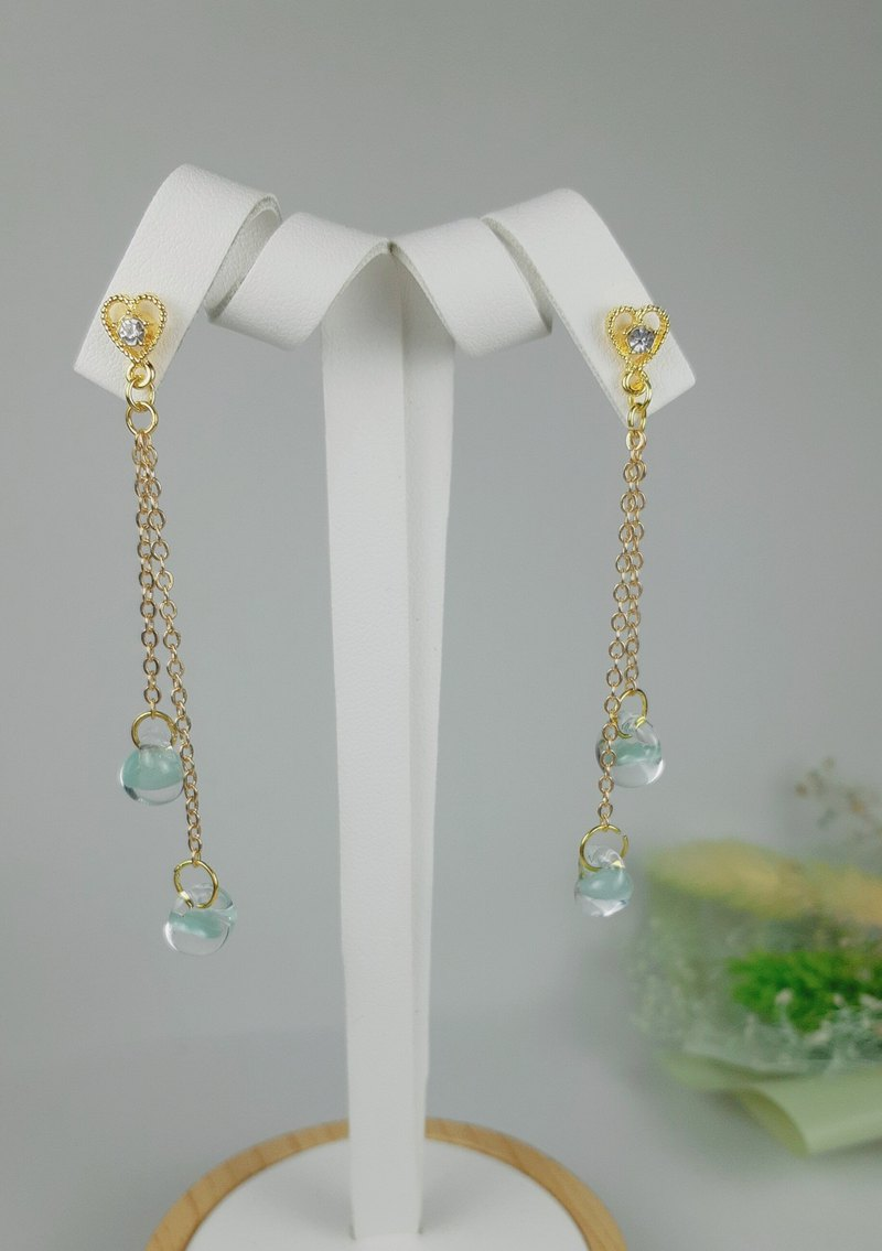 [Littlest Things]Teardrop series lake green long earrings
