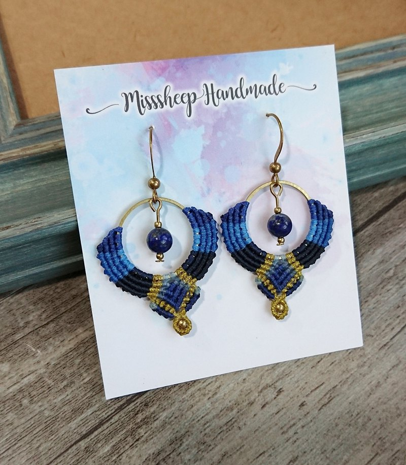 Misssheep-A155-Bohemian ethnic style South American wax line woven brass lapis lazuli earrings