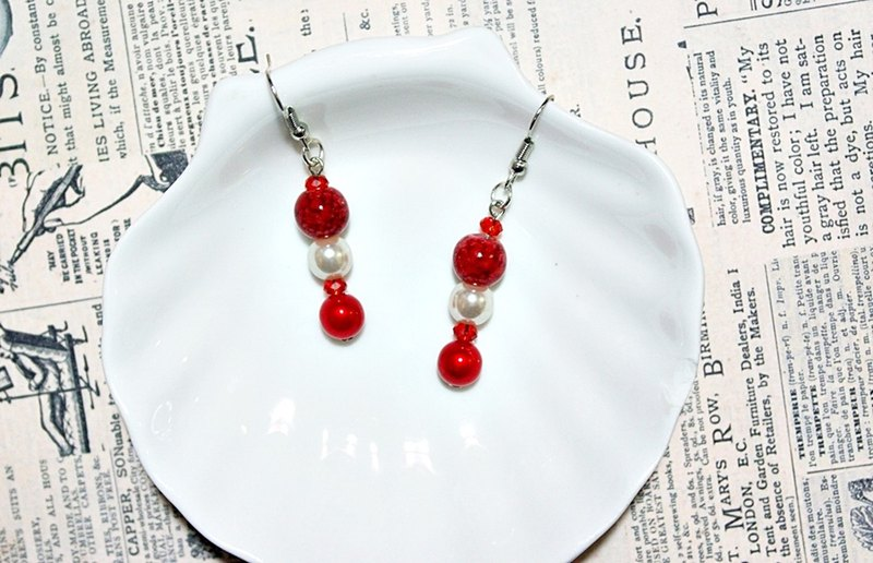 Alloy <Red and White Circles>_Hook Earrings => Limited X1
