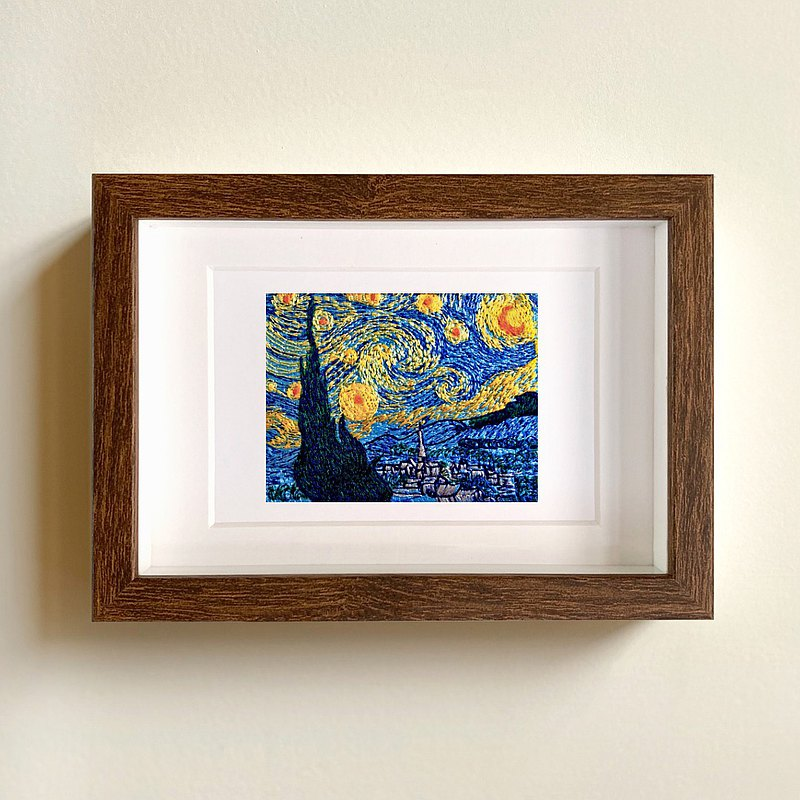 Simulation embroidery Van Gogh [Starry Night] famous paintings / photo frames / ornaments / gift boxes