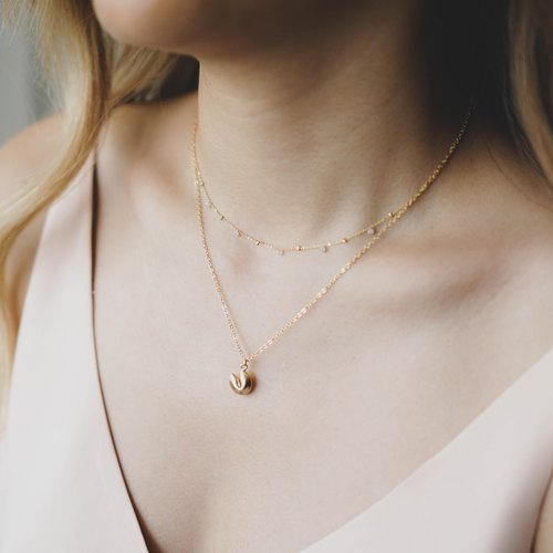 Gold Fortune Cookie Necklace - 14K Gold