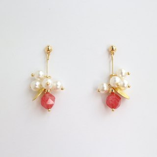 18kgf red natural stone gemstone pearl golden drop dangle earrings birthday gift