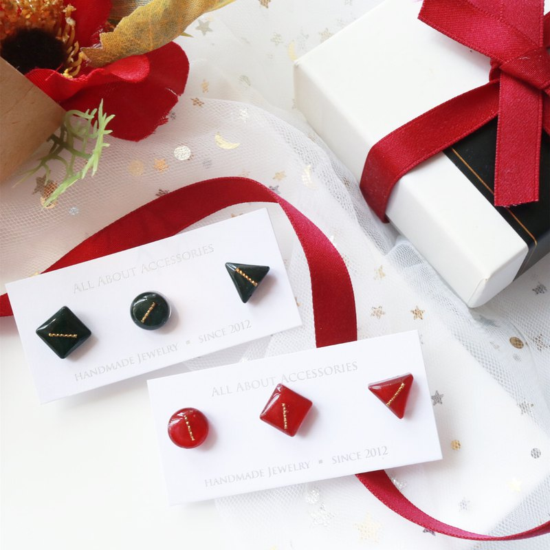 Christmas limited series - Christmas geometric three-piece earrings / ear clips