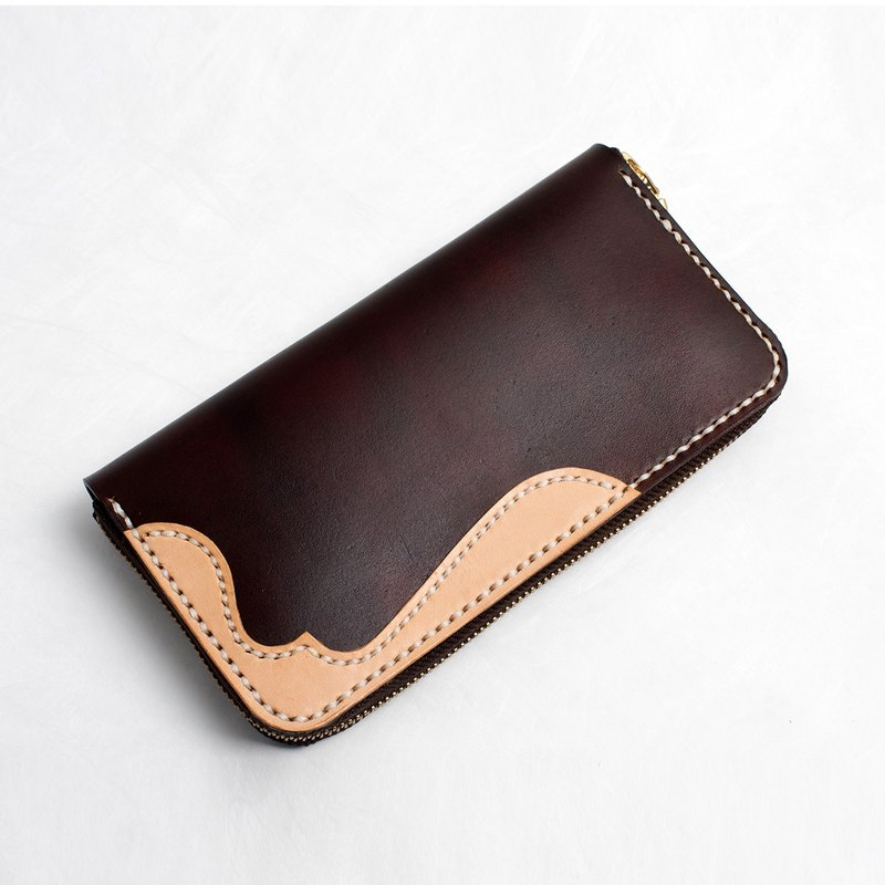 [Cut line] handmade leather zipper long wallet corner flower