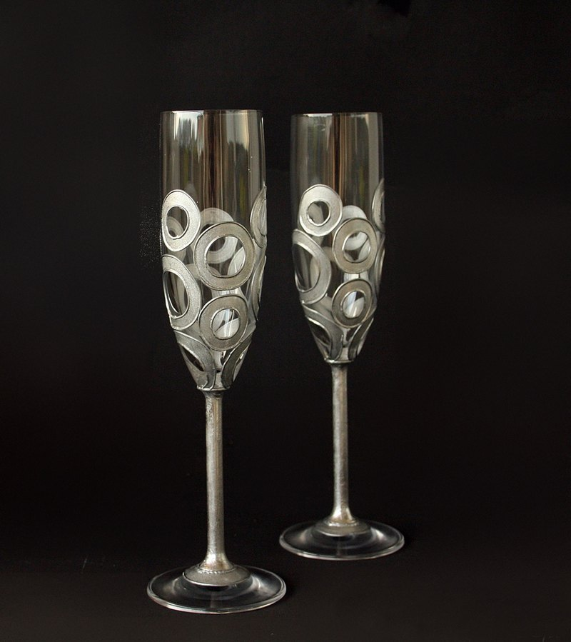Wedding Glasses Wine Champagne Hand Painted Set of 2