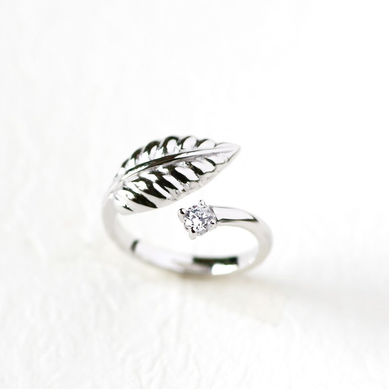Leaf Ring Ring 925 Sterling Silver Adjustable Ring