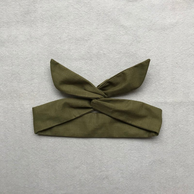 岛森家 / Aluminum wire headband / Solid color series / Olive green