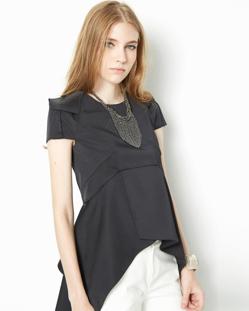 Pointed hem shirt Slim Square Shoulder Top with Pointed Hem