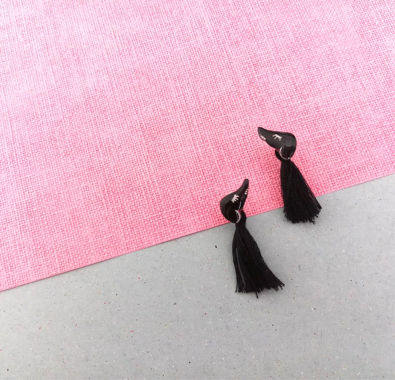 Animal series - Black Dog - Hand Drawn - earrings