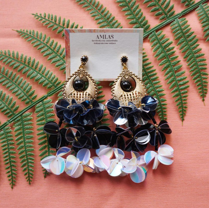 Satari Sequin Collection black and white dark blue sequin flower earrings