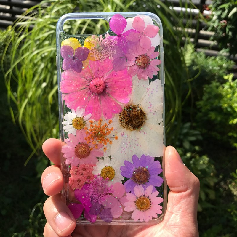 iPhone 7 Plus Dry Pressed Flowers Case Pink Daisy Flower case 018