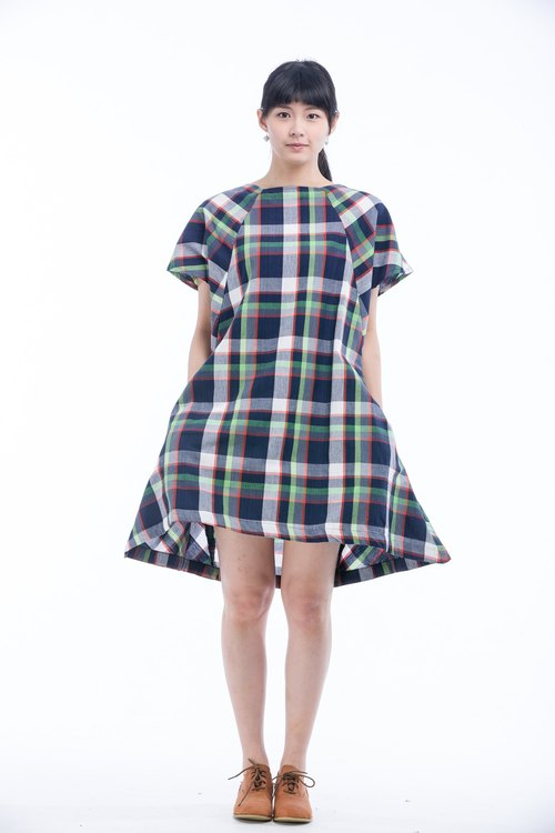 Sunny day umbrella hand-woven square collar dress - blue-green grid