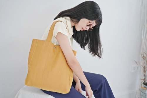 Casual Linen Tote Bag (Mustard)