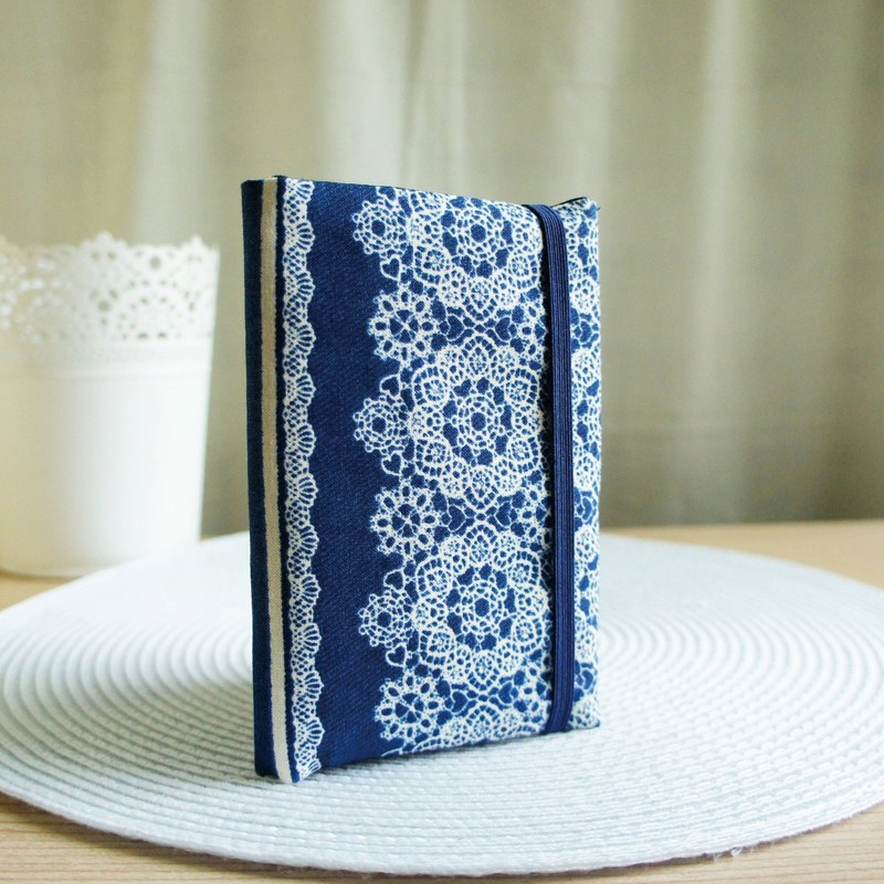 Lovely Japanese cloth [Denning style lace passport set] cloth book cover 9.5X14cm denim blue E