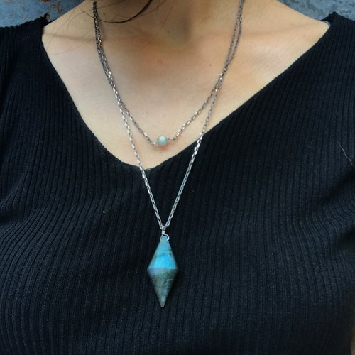 【Lost And Find】Natural Blue color Labradorite necklace