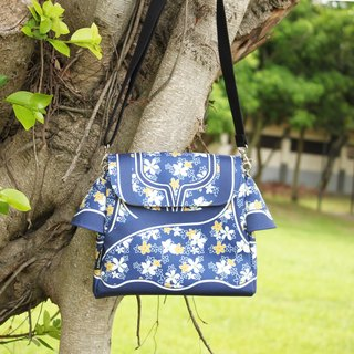 Taiwan traditional Printed pattern BAG (Tung flower Blue)