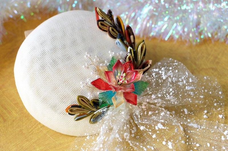 【洋粋スタイル】るり琉璃つまみ細工-和洋禮帽。聖誕雪花(米白)