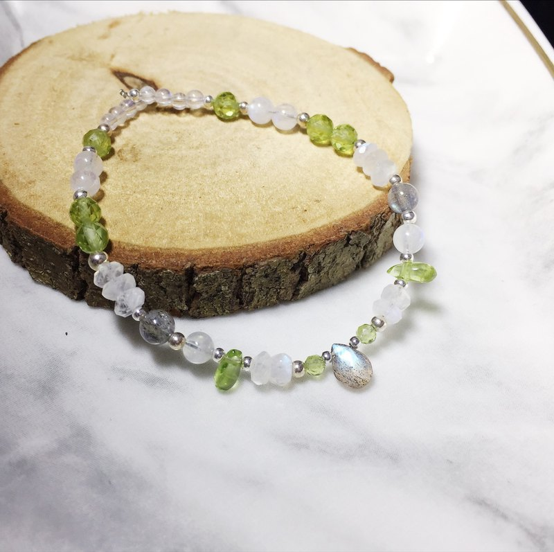 MH sterling silver natural stone custom series _ shining world _ olivine