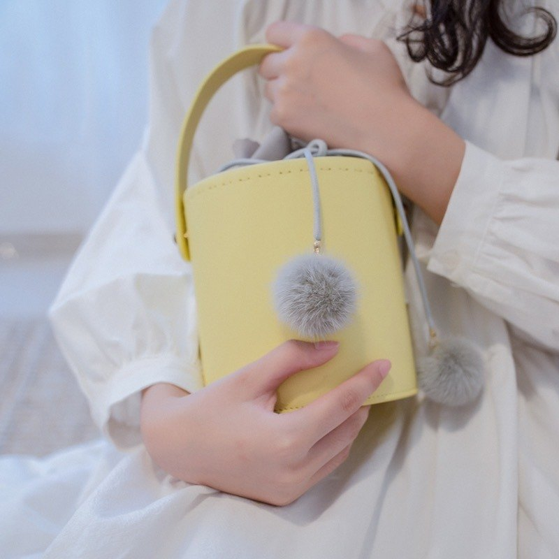 Yellow cowhide round bucket bag shoulder bag cross-body bag multi-purpose female leather bag