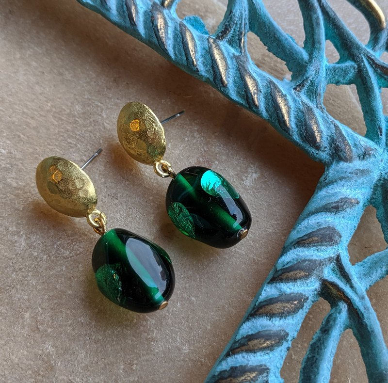 Vintage Green Glass Beads Brass Earrings