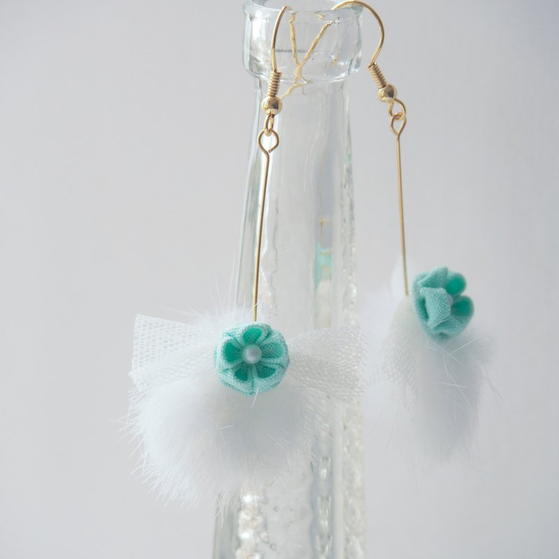 Tiffany blue Flower and Faux Fur Ball Drop Earrings Clip-on 14KGF, S925 custom