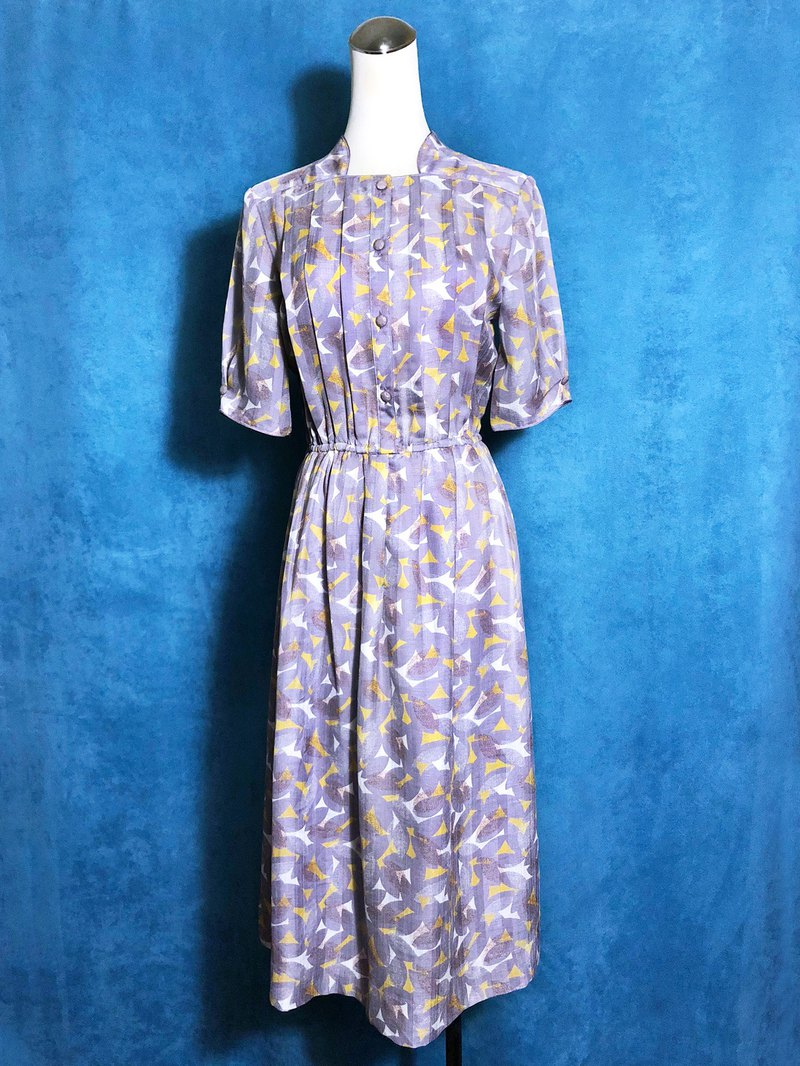 Special collar purple printed short-sleeved vintage dress / brought back to VINTAGE abroad