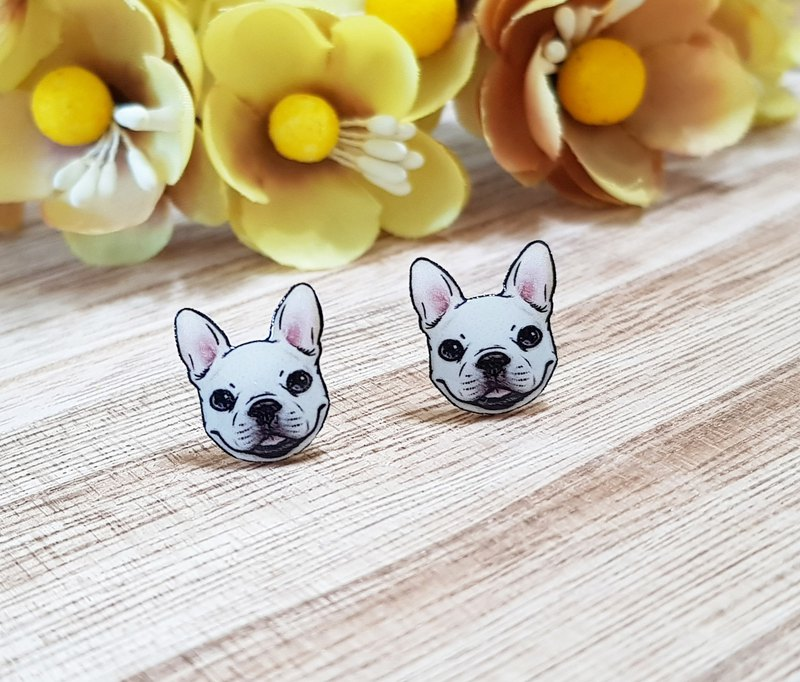 Smiling Bulldog Earrings Ear Clips - Dog Series